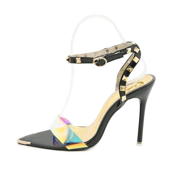 Kvinnor Nit Stilettos Sandaler Spetsiga Öppna Ankelrem Par Apricot 7