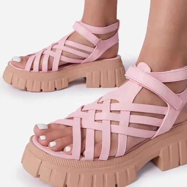 Kvinnors plattformssandaler Crisscross Rem Chunky Sandals Pink 9