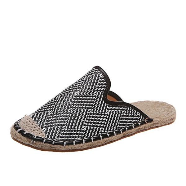 Kvinnor Skor Flat Straw Fisherman Shoe National Style Slip On Fe Black 38