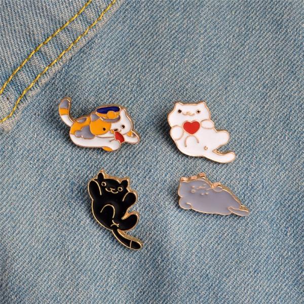 4PCS / Set emalj tecknad djur katt brosch stift skjorta krage stift