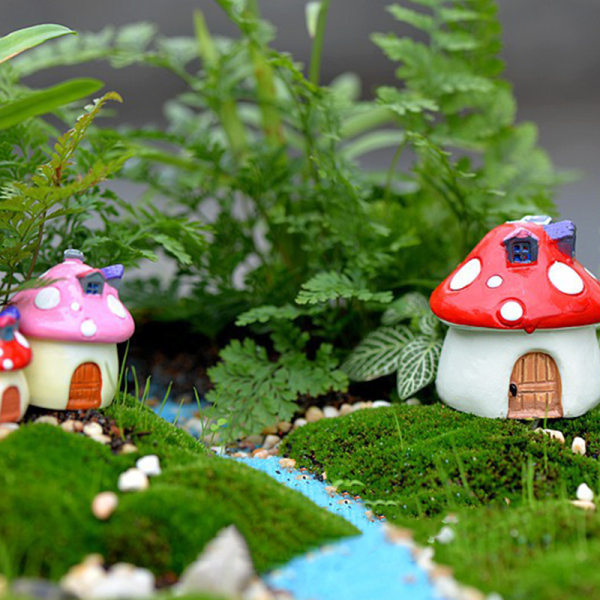 4PCS Resin Mini Mushroom House Miniature Garden Accessories Col Yellow M