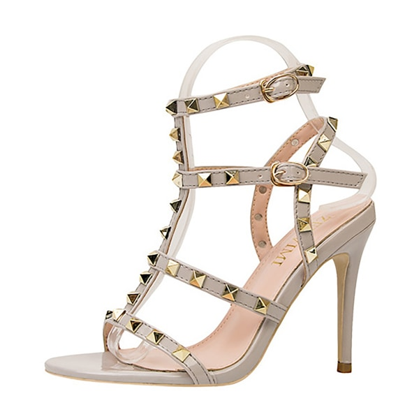 Kvinnors nit T-rem sandaler med öppen tå Stilettband med spänne H Black 7.5