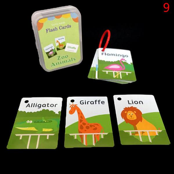 Nummerminneutbildning Tidigt lärande engelska Flash Card Fruit 9(Zoom Animal)