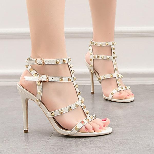 Kvinnors nit T-rem sandaler med öppen tå Stilettband med spänne H Nude 4