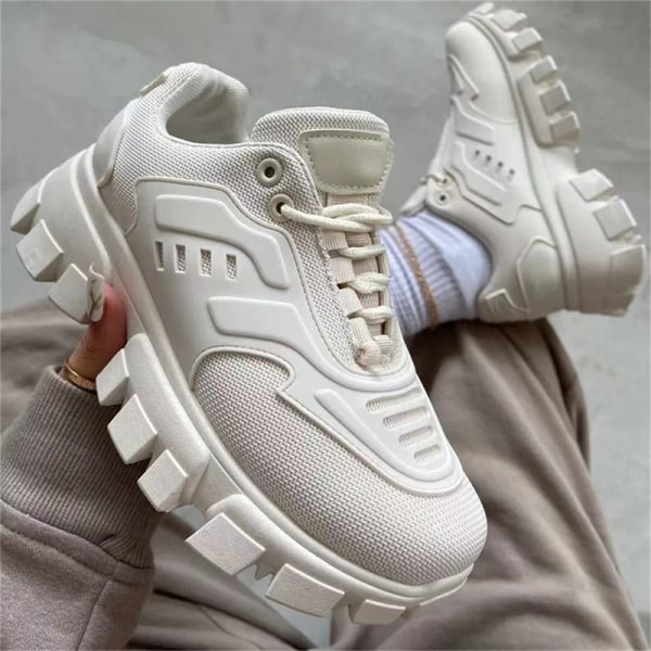 Sneakers Outdoor Sports Shoes Woman on Platform Sneakers 2021 B White 41