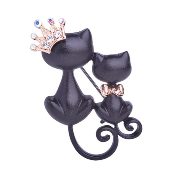 Svart mor dotter katter broscher Crystal Crown drottning brosch