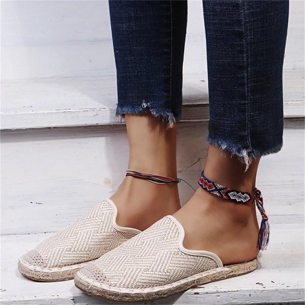 Kvinnor Skor Flat Straw Fisherman Shoe National Style Slip On Fe Blue 40