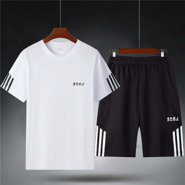casual set 2 st svett kostym randig t-shirt shorts set manliga spo