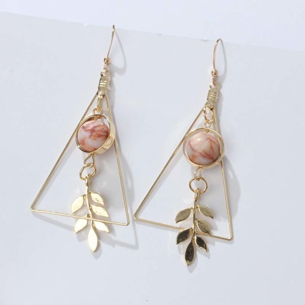 Charm Triangles Leaf Hook Drop Dangle Örhängen Öronknäpp kvinnor