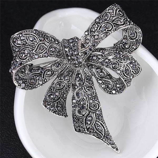 Crystal Rhinestone Bow Brooch Pin Women Shirt Collar Big Bowkno