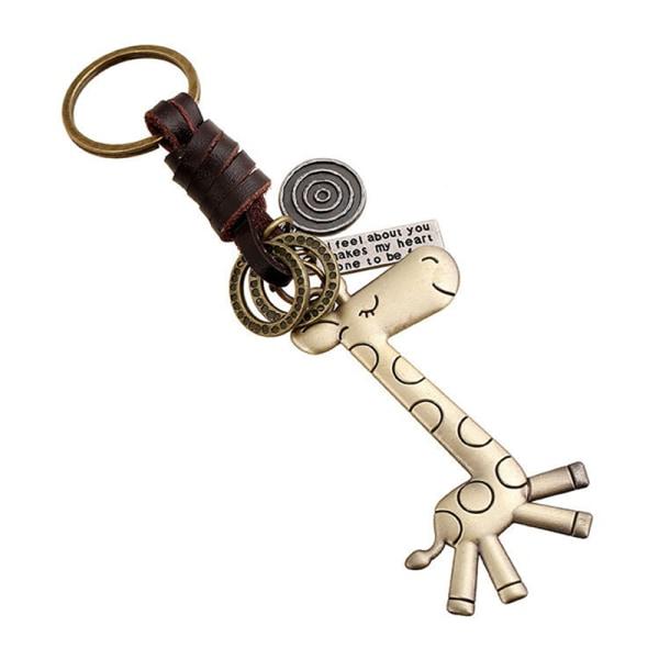 Söt giraff nyckelring läder nyckelringar Vintage män kvinnor Keyri