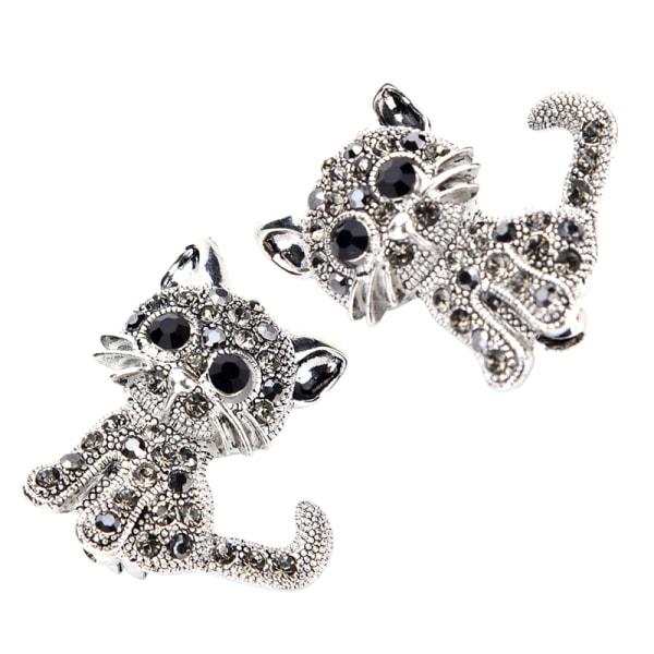 Söt liten kattbroscher Pin Antique Silver Plated Coat Shirt C