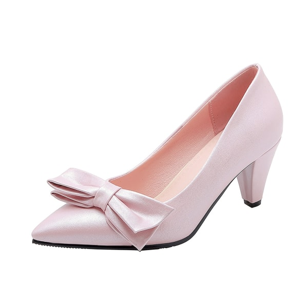 Womens Pointy Toe Kitten Heels Pumps Bowkont Dress Dress Party Daily Pink 10