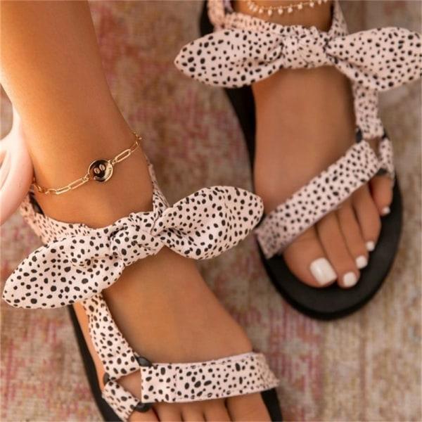 Nya kvinnor sandaler färg platta casual snörning rosettskor för dam White 39