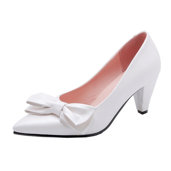 Womens Pointy Toe Kitten Heels Pumps Bowkont Dress Dress Party Daily White 8