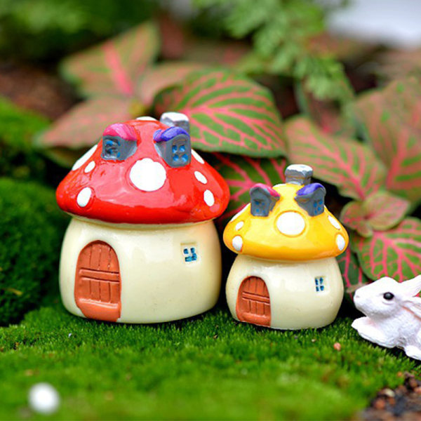 4PCS Resin Mini Mushroom House Miniature Garden Accessories Col Red SS