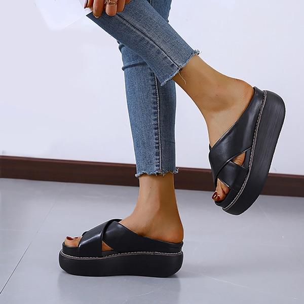 Kvinnors plattformssandaler med öppen tå och korsade tofflor Slides Sh Black 6.5