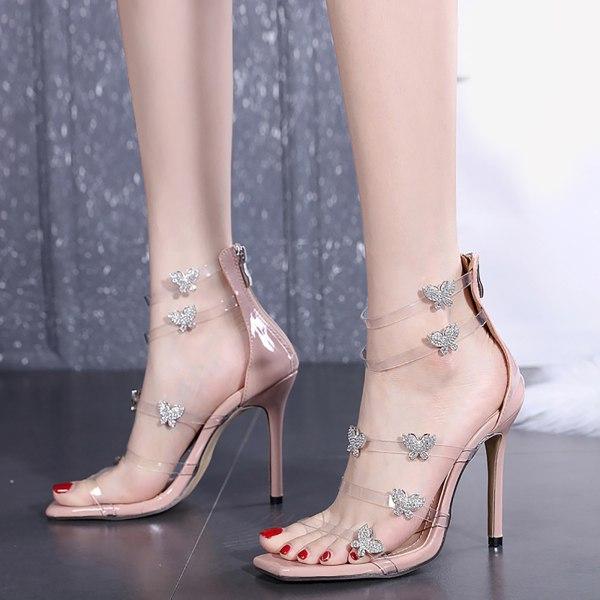 Damklackade sandaler Klar rem Höga klackar med fjäril ons Black 5.5