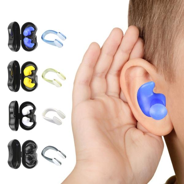 4 uppsättningar återanvändbara silikon öronproppar Näsa Clip Nose Prot Multicolor