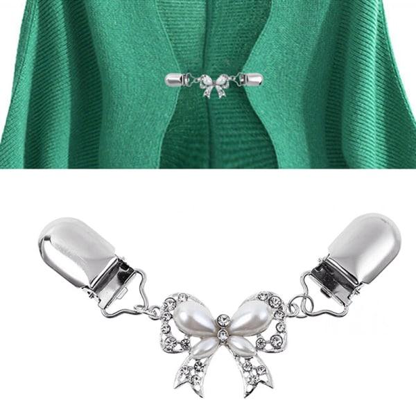 Fashion Bow Cardigan Tröja Blus Pin Shawl Brosch Clips Duck