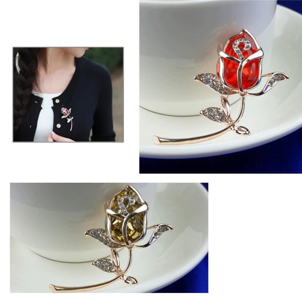 Mode brosch smycken Crystal Rhinestone Roses Brosch Pin Eleg