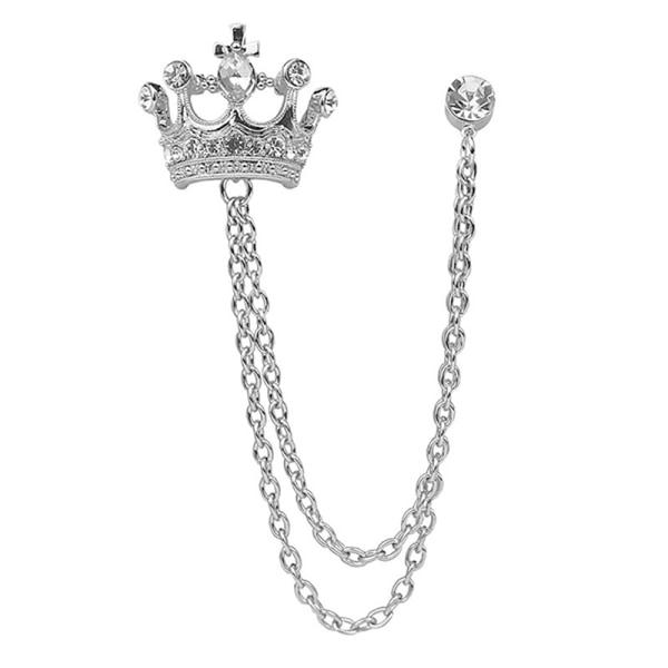 Fashion Crown Chain Tassel Brosch Pin Collar Badge Corsage Män