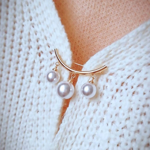 Fashion Pearl Fixed Strap Charm Safety Pin Brooch Sweater Cardi