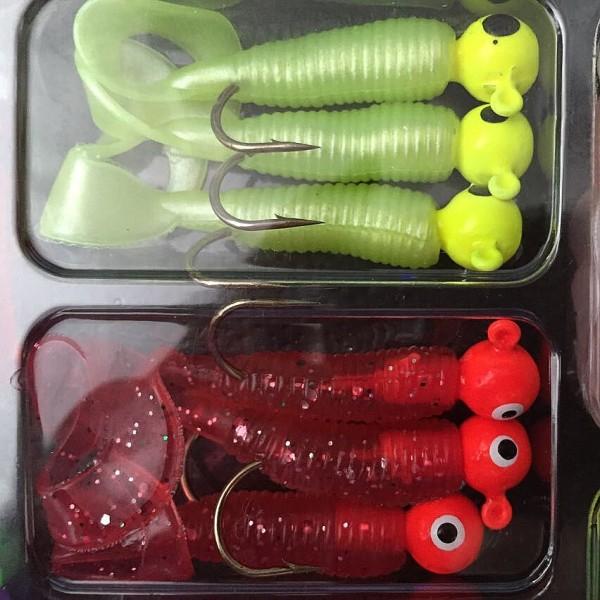 Fiskebeten sätter Jig Lead Head Hooks Soft Worm Grub Single Tai
