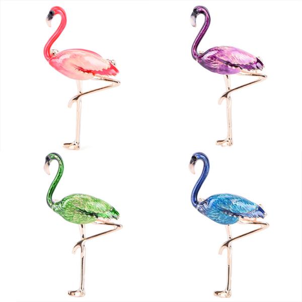 Flamingo Brosch Pin Emalj Krage Brosch Kvinna Badge Smycken Br