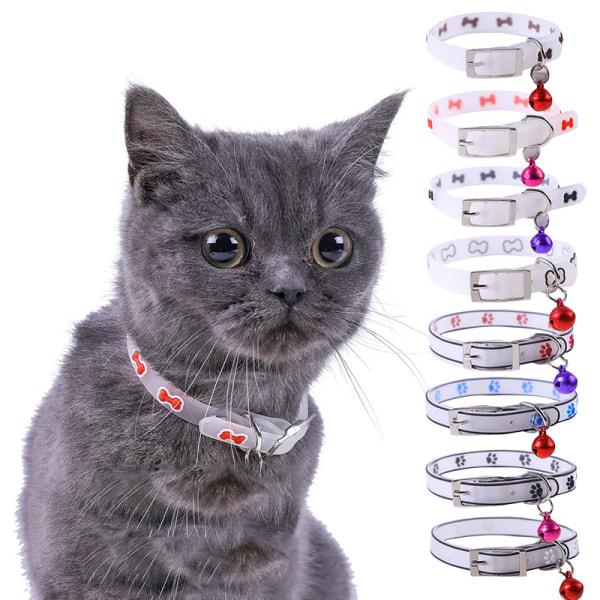 husdjur glödande krage med klockor lyser på natten hund katt halsband lu White Footprint
