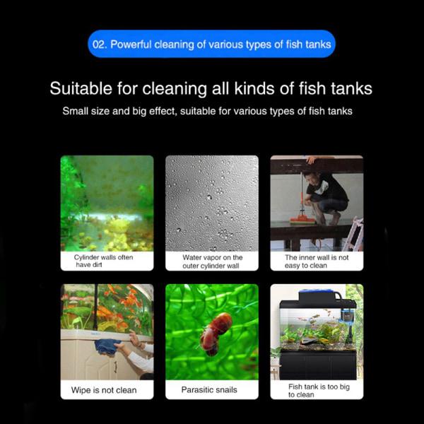 mini akvarium fisk tank magnetisk borste glas fönsterrengöring Black