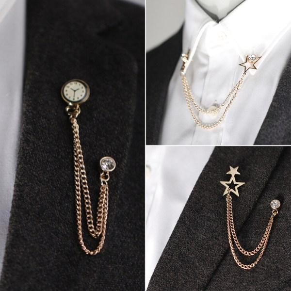 Retro kristallklocka brosch kostym skjorta tofs kedja revers Pin Wo
