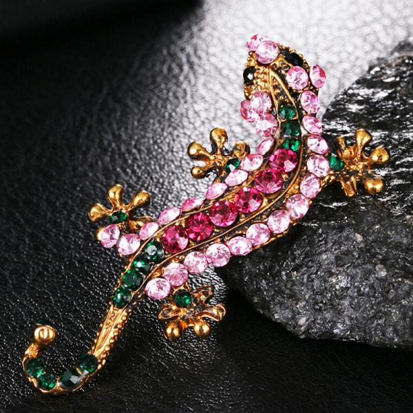 Kvinnor Vintage guldpläterad Crystal Rhinesone Gecko brosch Pin Je