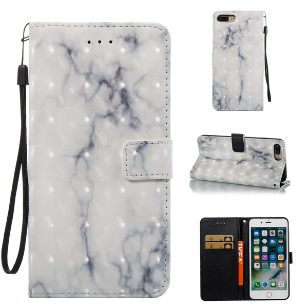 iPhone 7/8 Plus - Plånboksfodral - Marmor vit/grå