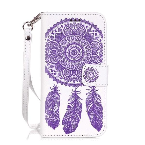Plånboksfodral iPhone 8 / iPhone 7 - Ingraverade Drömfångare vit/lila