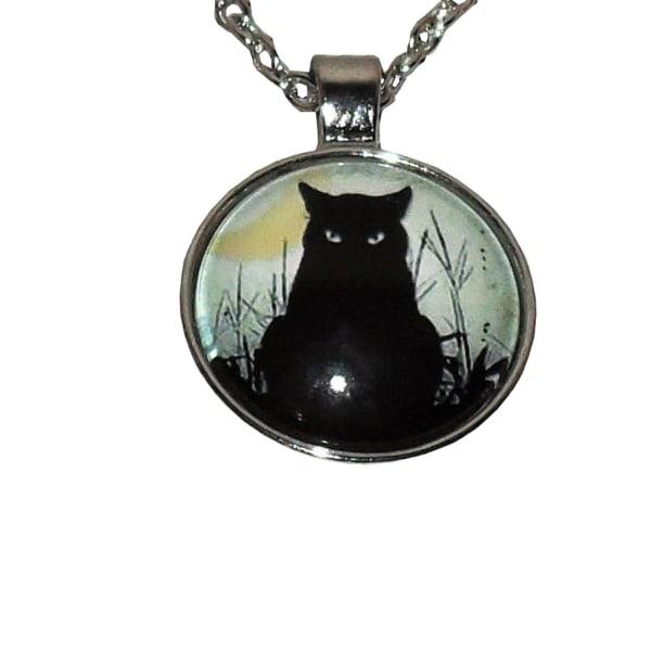 Halskæde i glas med motiv [S3] Sort kat Black
