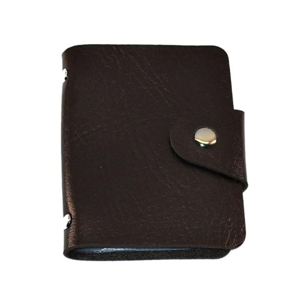 Korttikotelo keinonahkaa - Moderni lompakko Dark brown