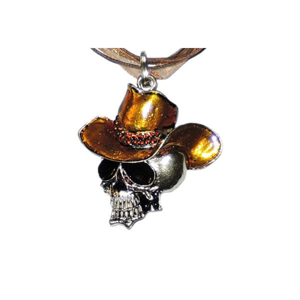 Halskæde - Brun kranium med stor hat - 42 cm halskæde Brown