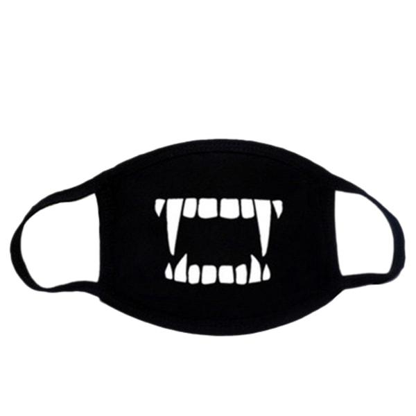 Ansigtsmaske - Sort - Vampyr - Maskeret Black one size
