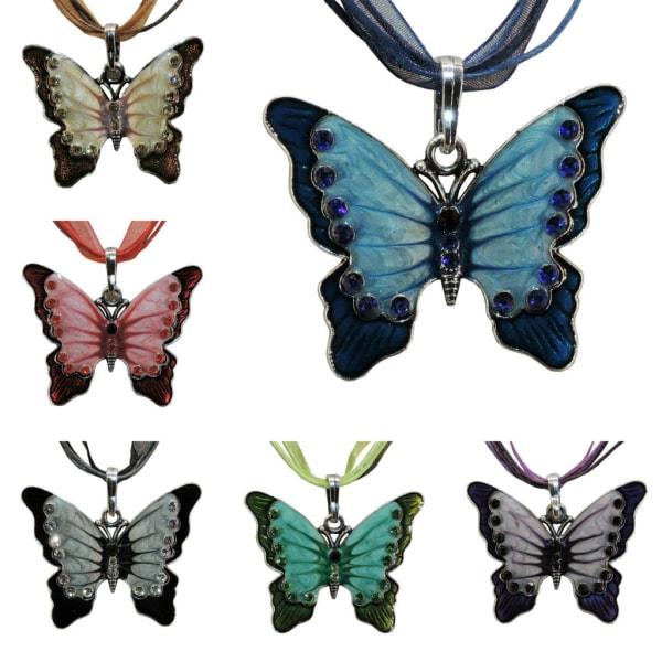 Halskæde - Hvid sommerfugl - Variant 3 med 42cm halskæde White