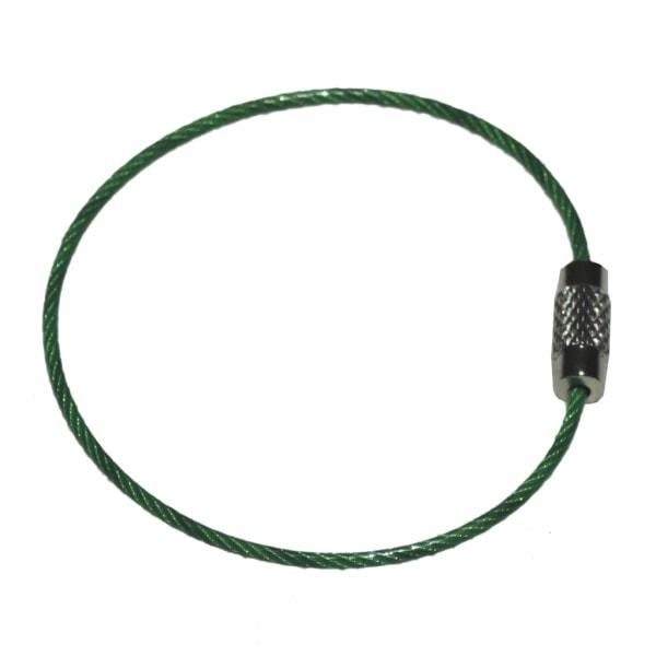Nøglering i ståltråd - Grøn - 50 mm diameter - 2 mm tykkelse Green Grön