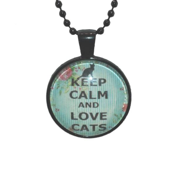 Halskæde i glas med motiv [K09] Love Cats [Sort] Blå / grøn Svart Blå/grön