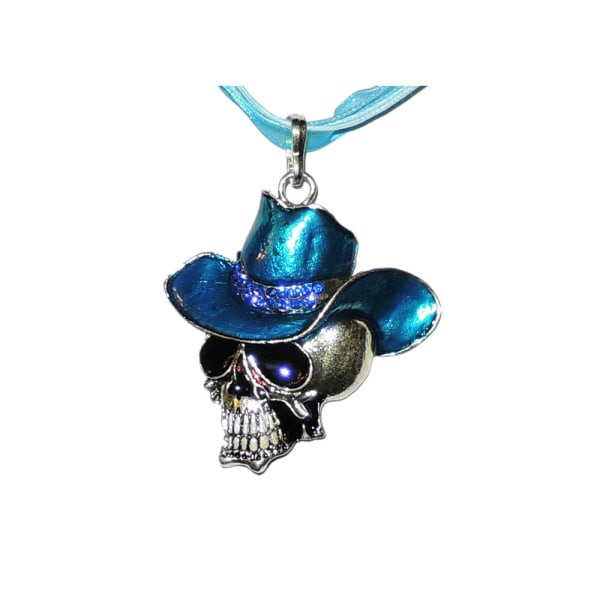 Halskæde - Kranium med stor hat - 42 cm halskæde Blue