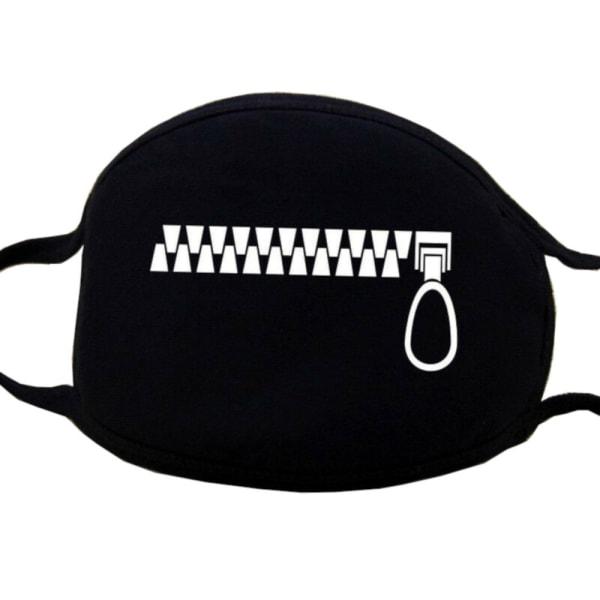 Ansigtsmaske - Sort - Lynlås lynlås - Maskeret Black one size