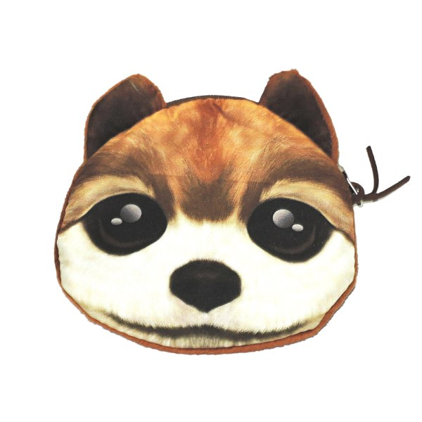 Hund - Stor pung - Pung - Minipose - Hvide / brune sorte øjne
