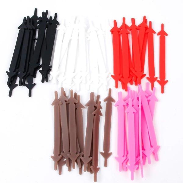 Lata skosnören - Silikon elastisk gummi - 6 hålpar - Vit Vit one size