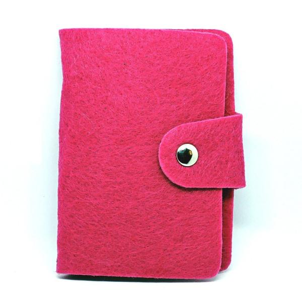 Huopakorttikotelo - 24 korttipaikkaa - Vaaleanpunainen Pink Rose