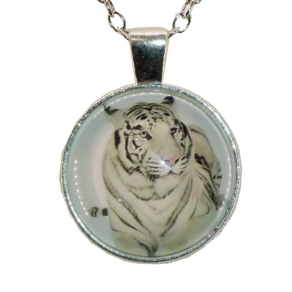 Halskæde i glas med motiv [S28] Hvid tiger Silver