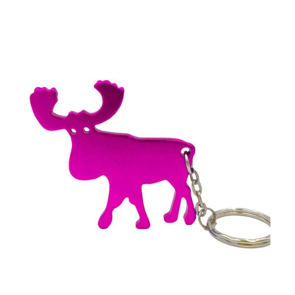 Nøglering - Flaskeåbner - Elg Dark pink