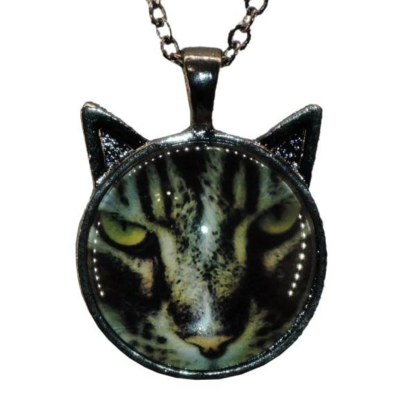 Halskæde i glas med motiv [SmÖ12] Kat med ører